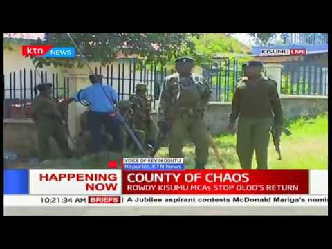 Chaos in Kisumu county assembly as police lobby tear gas to disperse rival MCA factions