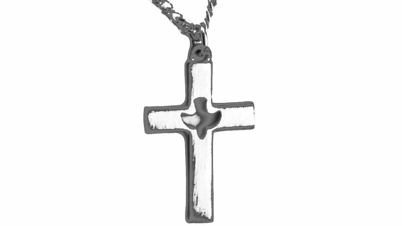 Holy Spirit Cross with Descending Cut out Dove Center Pendant
