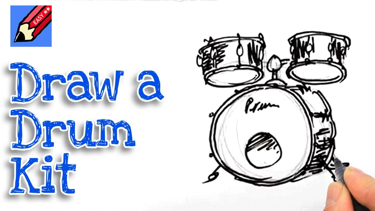 Learn How To Draw A Drum Kit Real Easy For Kids And Beginners
