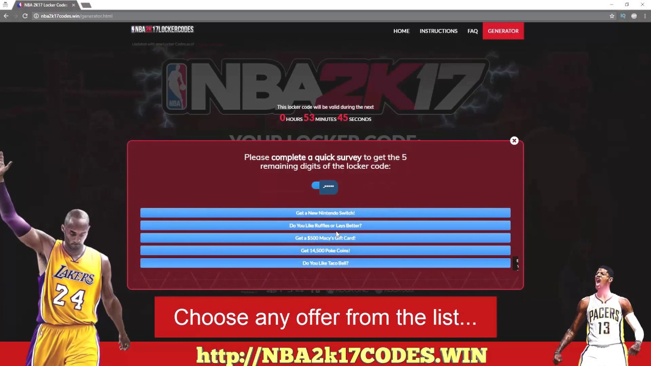 <b>NBA 2k17</b> Locker <b>Codes</b> PS4 XBOX PC 2017 - <b>NBA 2k17</b> VC <b>Codes</b> - <b>NBA</b> ...