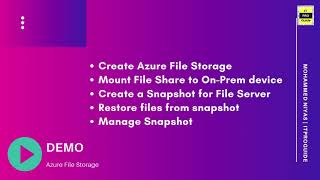Azure Files | Azure Storage | Introduction, How to mount Azure file share, Manage Snapshot Video 1
