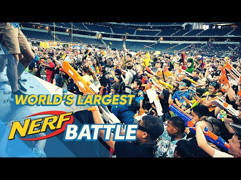 WORLD'S LARGEST NERF WAR! Jared's Epic Nerf Battle 4 / Meet Dude Perfect / Fortnite IRL