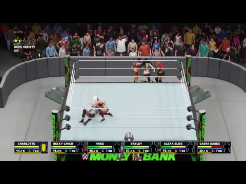 wwe 2k18 universe wwe money in the bank 6 woman ladder title match 4 horsewomen paige bliss