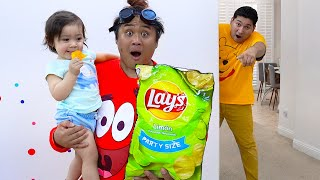Baby Maddie Pretend Play Eating Chips and Snacks | Fun Video about Kids Food and Toys
