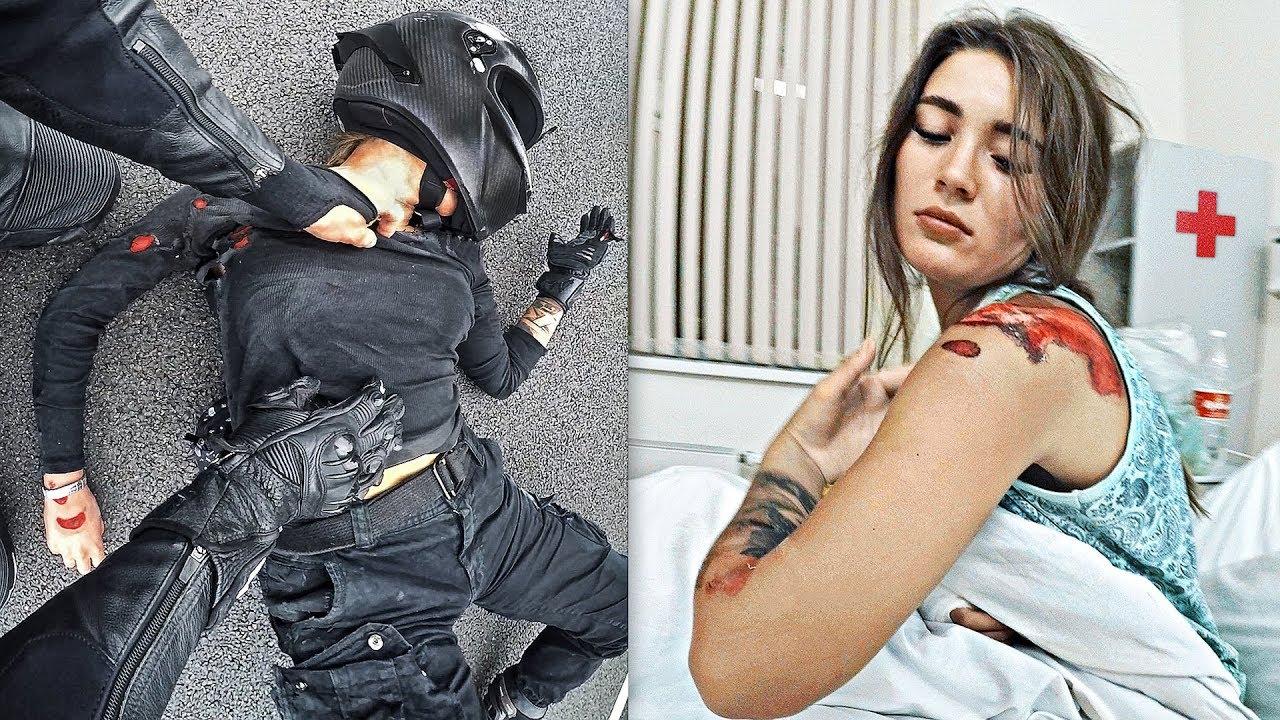 Мото девушка врезалась в отбойник на скорости 180 км в час - Приехали в больницу