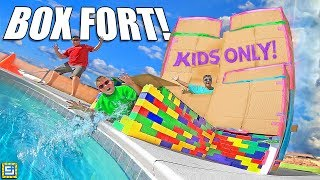 KIDS ONLY Mega Mansion Box Fort! No Parents Allowed!