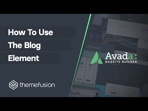 How To Use The Blog Element Video