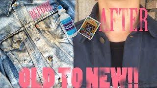 DIY Membuat jaket denim tua menjadi BARU/Cara mewarnain jaket Jeans/Levis
