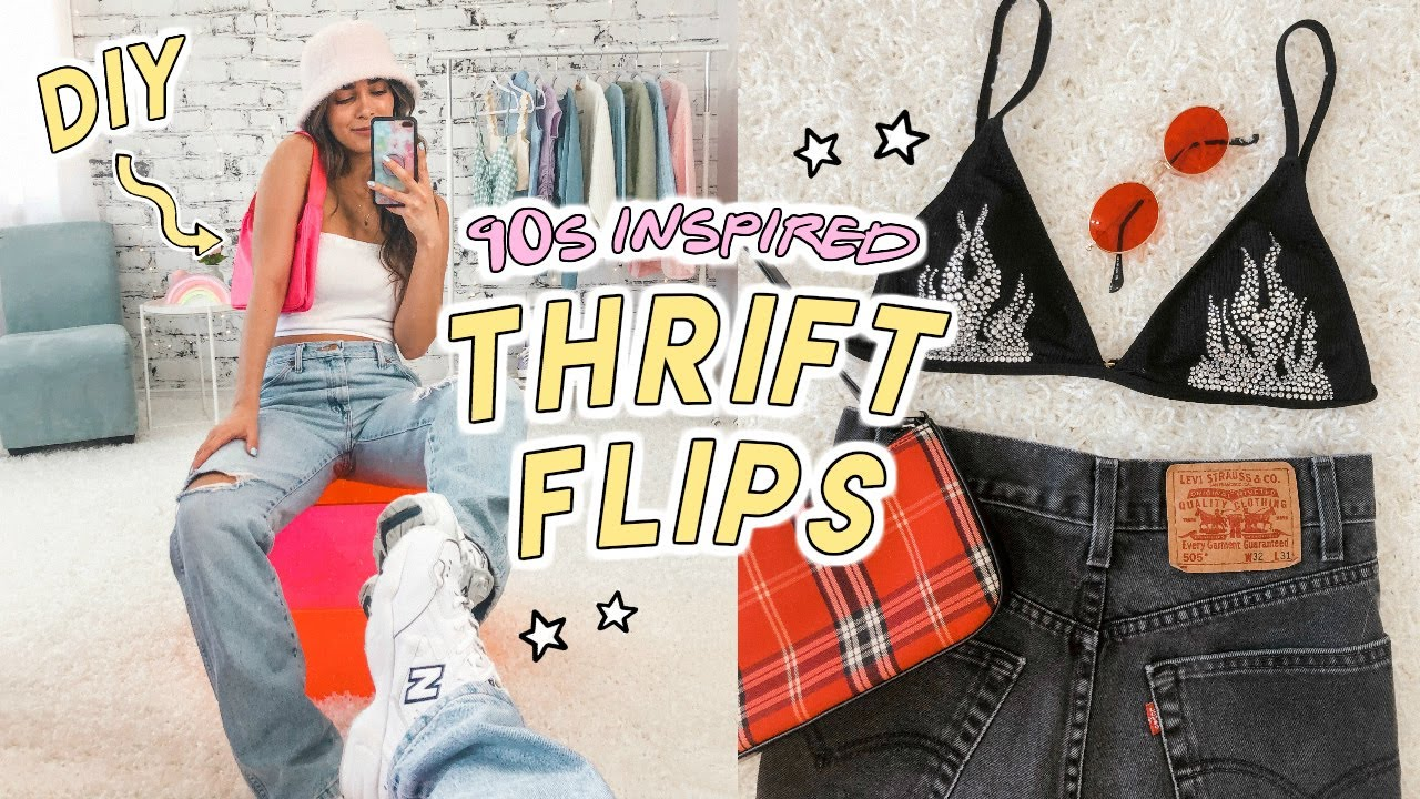 90s INSPIRED THRIFT FLIPS (no sew) ☆ baby tees, bedazzled bikini, lace trims + more diys!