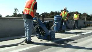 Highway Road Marking Removal (3/4) | The Blastrac BMP-335GHY