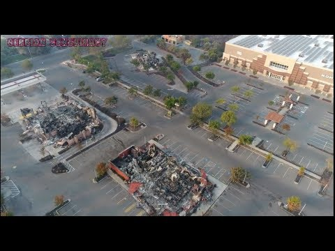 Drone footage KMart Burned -Trees Untouched- Officials Asked about DEW