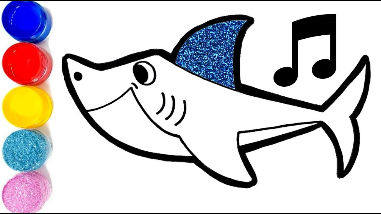 Baby Shark Song Daddy Shark Drawing And Coloring For Kids With