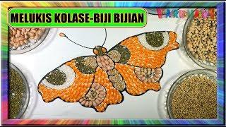 Melukis kolase  Kupu-Kupu dengan Biji-bijian- Painting mosaic and collage