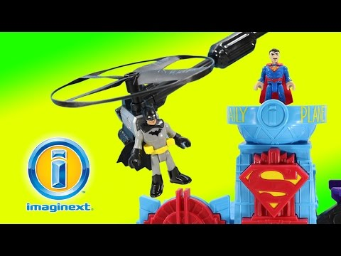 DC Batman Superman Flight City Playset with real Flying Helicopter!