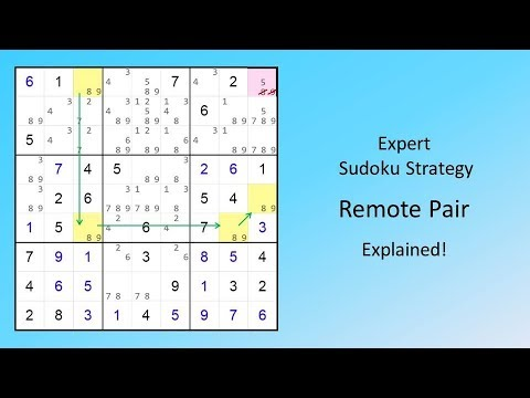 Expert Sudoku Strategy Remote Pair Explained