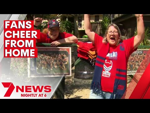 Melbourne fans celebrate incredible grand final win from home   7NEWS