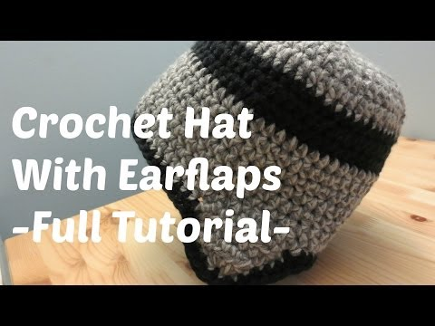 Crochet Hat With Earflaps - Adult Male Size
