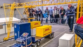 Stunning RC crane loads a container truck! 1/8 scale Action!