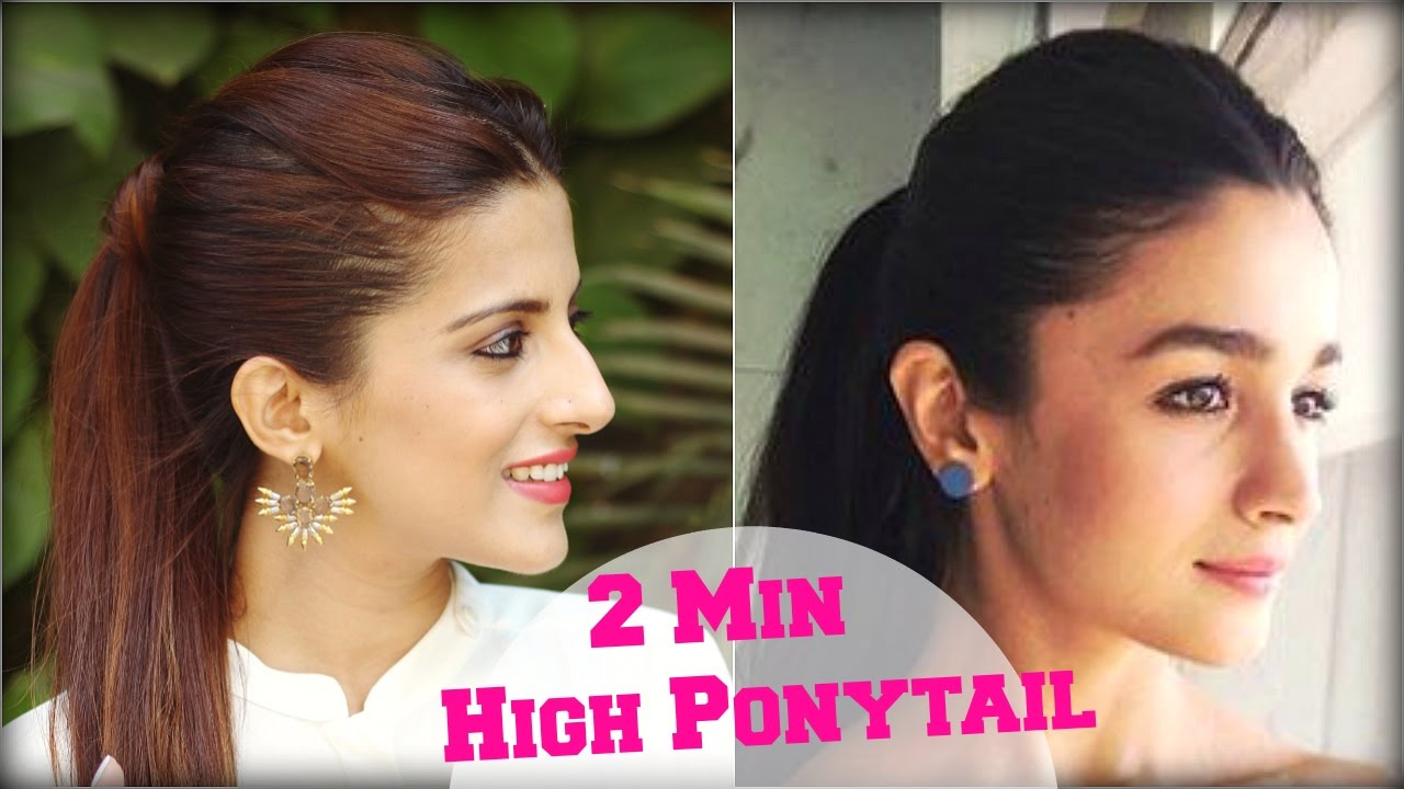 2 Min Easy Everyday Middle Parting High Ponytail Hairstyle For