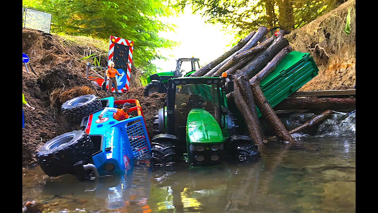 Rc Bruder Traktor And Jeep Falls Into Water River