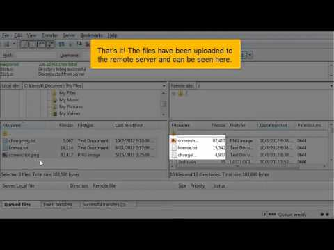 Uploading files using FileZilla