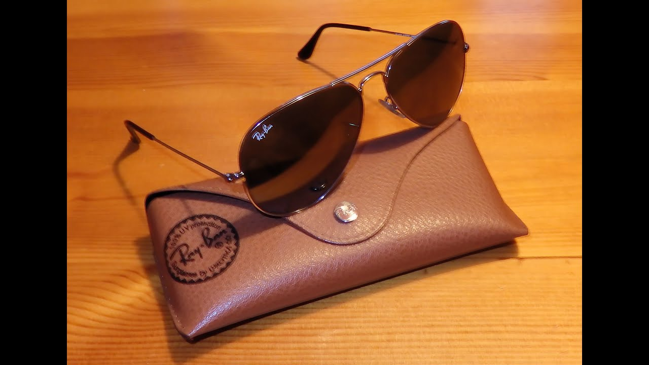 97b646d141 Ray Ban Aviator sunglasses - Gray lenses mirrored - W3277 - YouTube