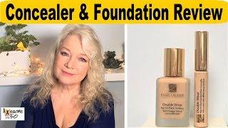 Applying Concealer, Foundation, Blush & Review Estee Lauder Double Wear Makeup, Mature Women over 50