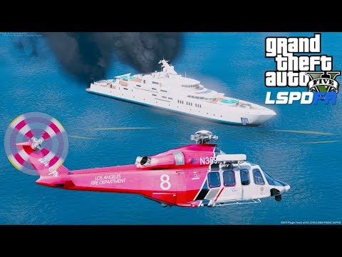 GTA 5 LSPDFR Coastal Callouts - LAFD Air Ops AW139 Helicopter Responds To A Fire On A Boat