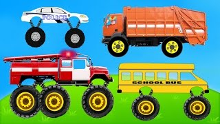 MONSTER CARS - CAR WASH Compilation POLICE GARBAGE SCHOOL BUS FIRE TRUCK