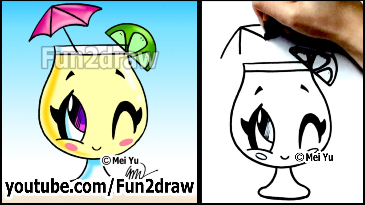 Cartoon Drawing Lessons  How To Draw A Summer Drink  Lemonade  Youtube