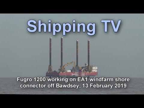 Fugro 1200 jackup barge at work, 13 February 2019