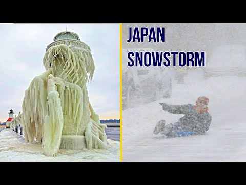 Severe Snowstorm hits northern Japan, the strongest in years. Blizzard in Japan / Natural Disasters