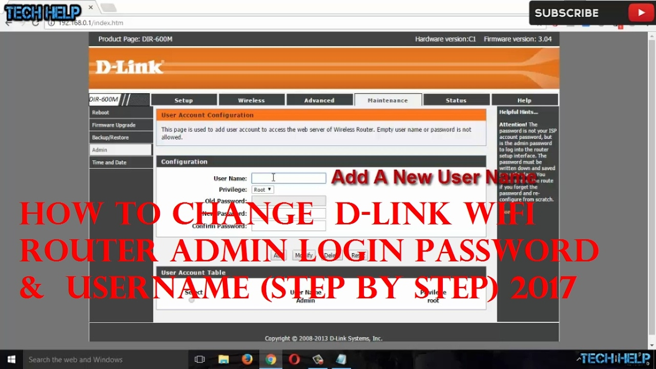 How to change wifi username and password dlink