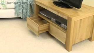 Pablo Solid Oak 2 Drawer Tv Cabinet From Oak Furniture Land