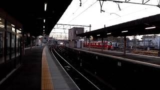 「空港線15周年記念ヘッドマーク編成」名鉄2008Fミュースカイ岐阜行き、大江駅通過電笛入り