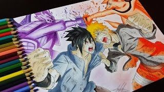 Drawing Naruto Vs Sasuke - Batalha Final (Naruto Vs Sasuke Final Battle)