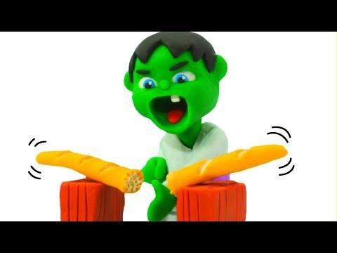 Baby Hulk Practices Karate ❤ Frozen Elsa & Superhero Play Doh Cartoons & Stop Motion