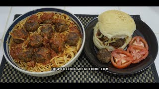 🍝🇮🇹🍔 Meatballs & Spaghetti Recipe - Meatball Sub Sandwich - Easy Pasta Sauce Simple & Delicious