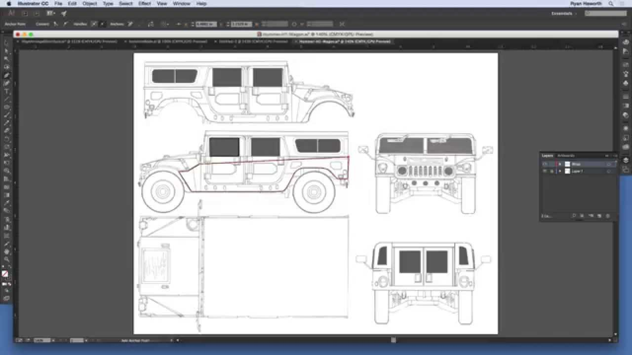 How To Do A Vehicle Wrap Project In Illustrator Youtube