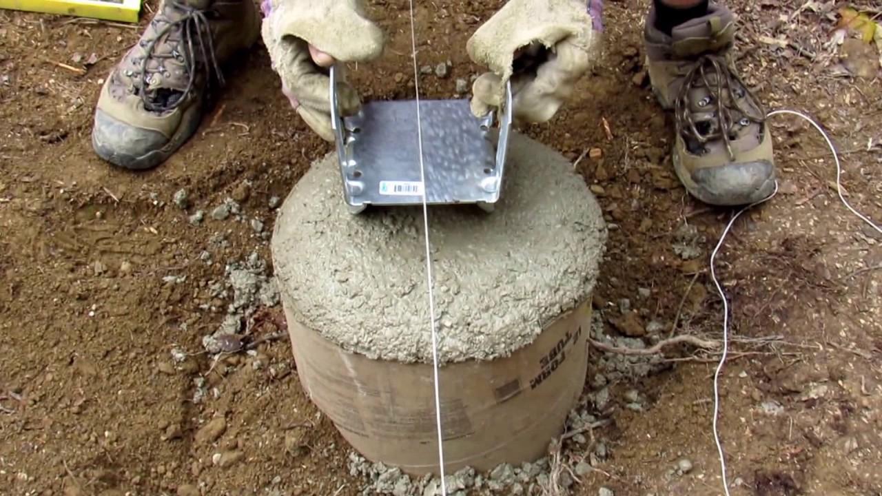 Adding bracket on concrete footer - Finishing sonotube ...