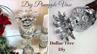 Unique Pineapple Vase with items you least expect from the Dollar Tree!