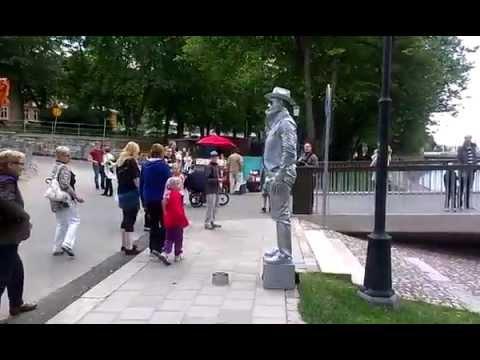 Living Statue - Silver Cowboy in Turku, Finland