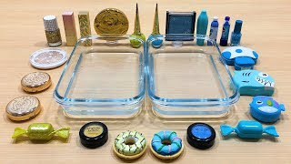 BLUE vs GOLD | Mixing Makeup Eyeshadow into Clear Slime! Special Series #53 Satisfying Slime Video