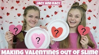 Making Valentines Out of Slime Challenge ~ Jacy and Kacy