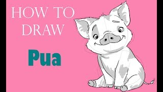 HOW TO DRAW PUA (MOANA/VAIANA) - Realtime 5 minutes sketch