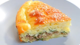 Заливной пирог с фаршем и сыром в духовке Рецепт 116 Minced meat and cheese pie