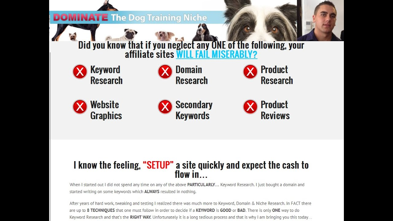 Dog Training Niche Package Review- Affiliate Marketing Professional with  research Niche, Keyword