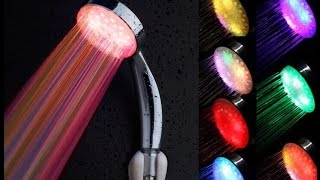 AMAZON 7 X Color LED Shower Head Bathroom Water Faucet Light UNBOXING AND TEST