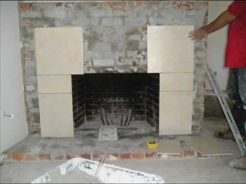 Fireplace refacing from brick to tile youtube - Tile over brick fireplace ...