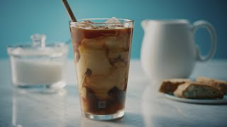 Iced double espresso with milk